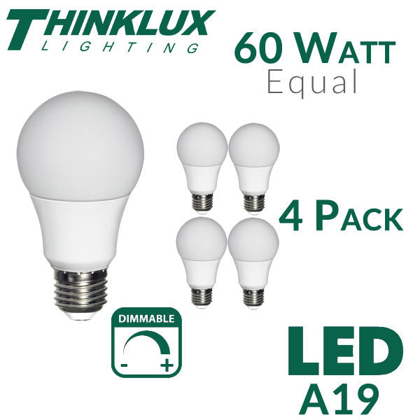 Thinklux 60-watt Equivalent A19 LED Light Bulb 4-Pack in 3000K (Warm White) or 5000K (Cool Daylight White)