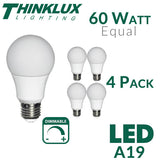 Thinklux A19 LED Light Bulb - 9 Watt - 60 Watt Equal - Dimmable - Shatterproof - 4 Pack