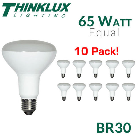 Thinklux LED BR30 - 12 Watt - 65 Watt Equal - Dimmable Flood - 10 Pack