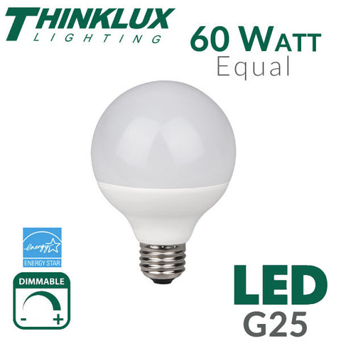 Thinklux G25 LED Light Bulb - 8 Watt - 60 Watt - Dimmable - Shatterproof - Fully Enclosed Rated