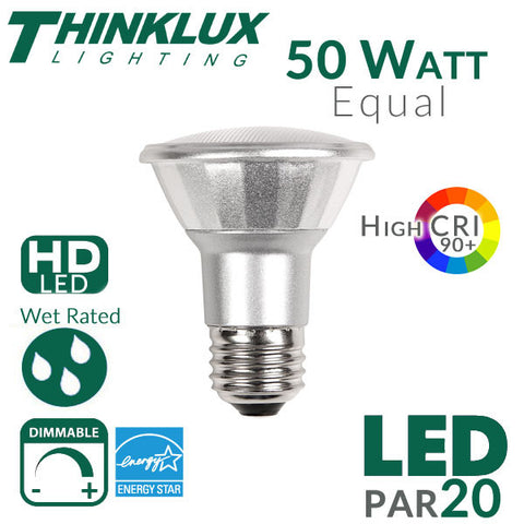 Thinklux PAR20 LED Bulb - High 90+ CRI - 7W - 50W Equivalent - Spot 25 Degree Beam Angle - Dimmable - Wet/Outdoor Rated