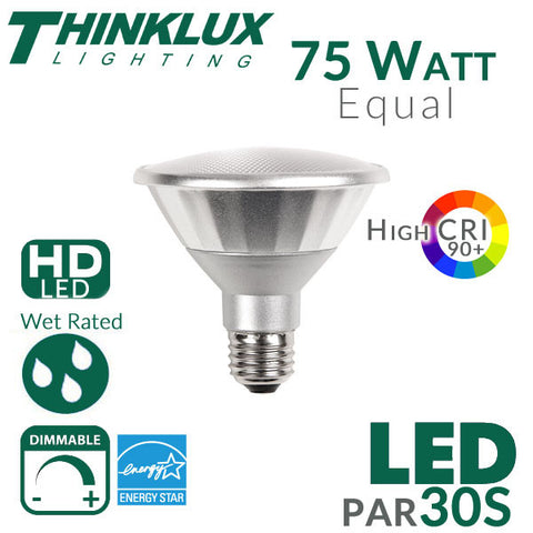 Thinklux PAR30 LED Bulb - High 90+ CRI - 13W - 75W Equivalent - Short Neck - Spot 25 Degree Beam Angle - Dimmable - Indoor/Outdoor Wet Rated