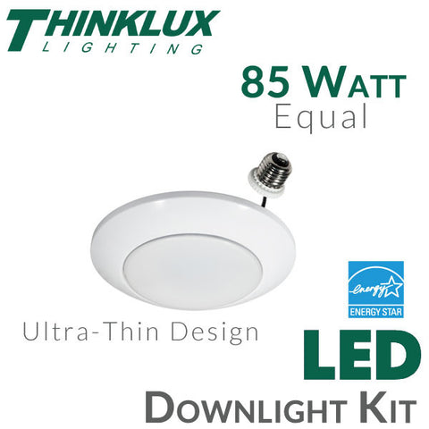 Thinklux Ultra-Thin Disk LED Recessed Downlight Kit - 13 Watt - 85 Watt Equal - Dimmable