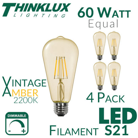 Thinklux Filament LED S21/ST21 Edison Style Light Bulb - 7 Watt - 60 Watt Equal - 2200K Super Warm - Antique Amber Glass - Dimmable - 4 Pack