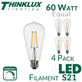 Thinklux Filament LED S21/ST21 Edison Style Light Bulb - 7 Watt - 60 Watt Equal - Dimmable - 4 Pack