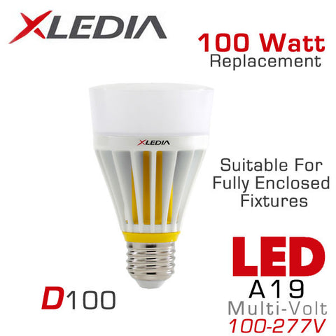 XLEDIA D100L - Omni-Directional A19 - 16 Watt - 1600 Lumens - Soft White (2700K) - 100 Watt Equal - Suitable for Fully Enclosed Fixtures - 100-277VAC