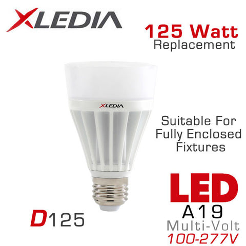 XLEDIA D125N - Omni-Directional A19 - 17.5 Watt - 2080 Lumens - Cool White (5000K) - 125 Watt Equal - Suitable for Fully Enclosed Fixtures - 100-277VAC