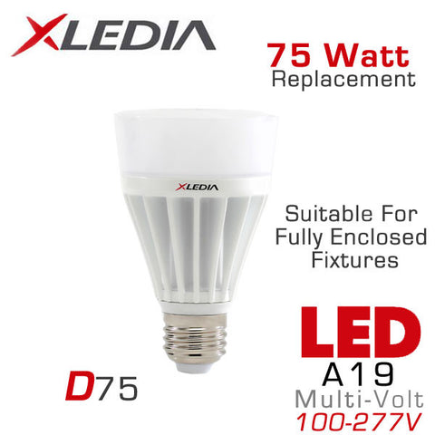 XLEDIA D75N - Omni-Directional A19 - 11 Watt - 1200 Lumen - Cool White (5000K) - 75 Watt Equal - Suitable for Fully Enclosed Fixtures - 100-277VAC