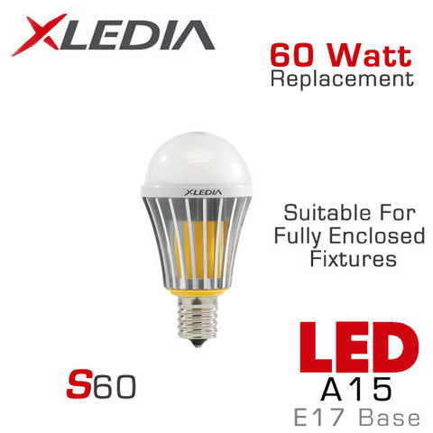 XLEDIA - S60L - A15 LED Light Bulb - 8.3W - 60 Watt Equal - E17 Base - Directional - Non-Dimmable - Suitable for Fully Enclosed Fixtures