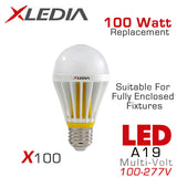 XLEDIA X100L - A19 - 16 Watt - 1650 Lumens - Soft White (2700K) - 100 Watt Equal - Suitable for Fully Enclosed Fixtures - 100-277VAC