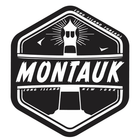 Montauk Long Island NY Sticker (Black)