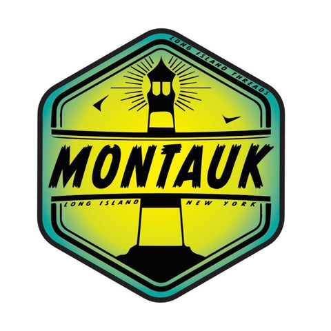 Montauk Long Island NY Sticker (Green/Yellow Gradient)