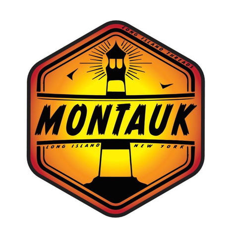Montauk Long Island NY Sticker (Red/Orange/Yellow Gradient)