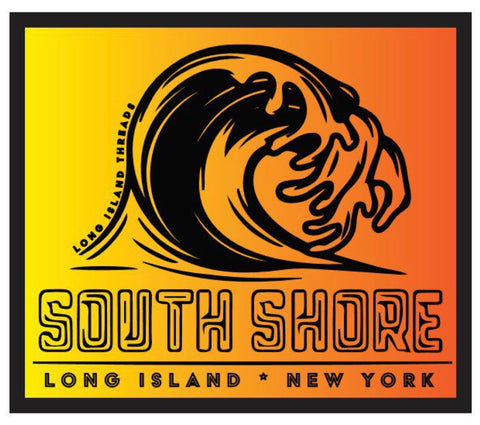South Shore Long Island Wave Sticker (Orange Gradient)