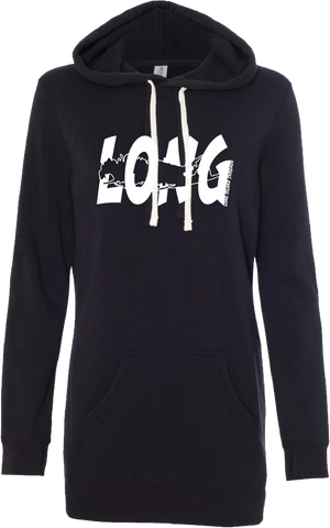 LI Offset Women's Hoodie Tunic (Black)