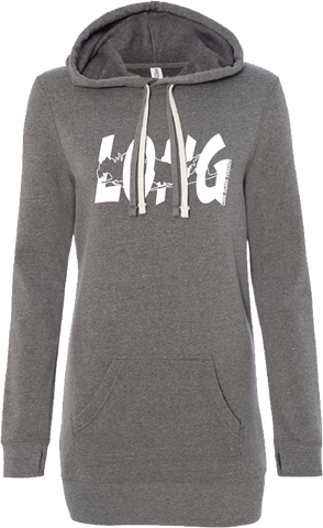 LI Offset Women's Hoodie Tunic (Heather Grey)