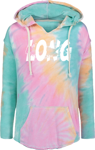 LI Offset Women's French Terry Hoodie (Rainbow Tie Dye)