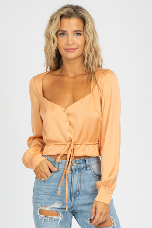 APRICOT BUTTON FRONT BLOUSE