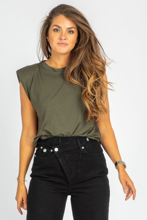 ARMY GREEN SLEEVELESS SHOULDER PAD TOP