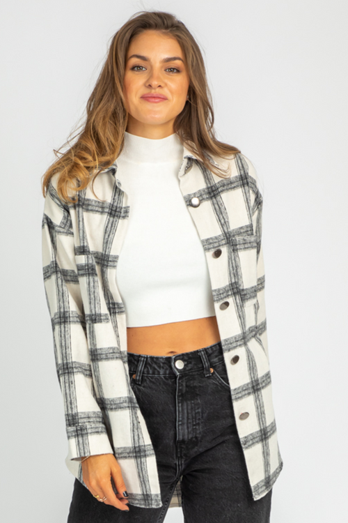 B+W PLAID SHIRT JACKET