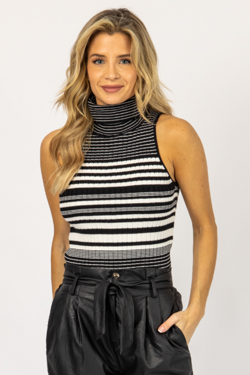 BLACK + IVORY STRIPED TURTLENECK TANK