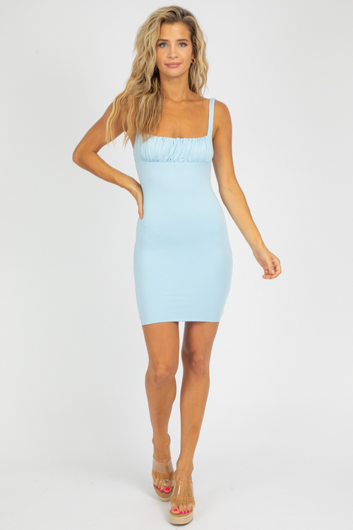 BABY BLUE FITTED MINI DRESS
