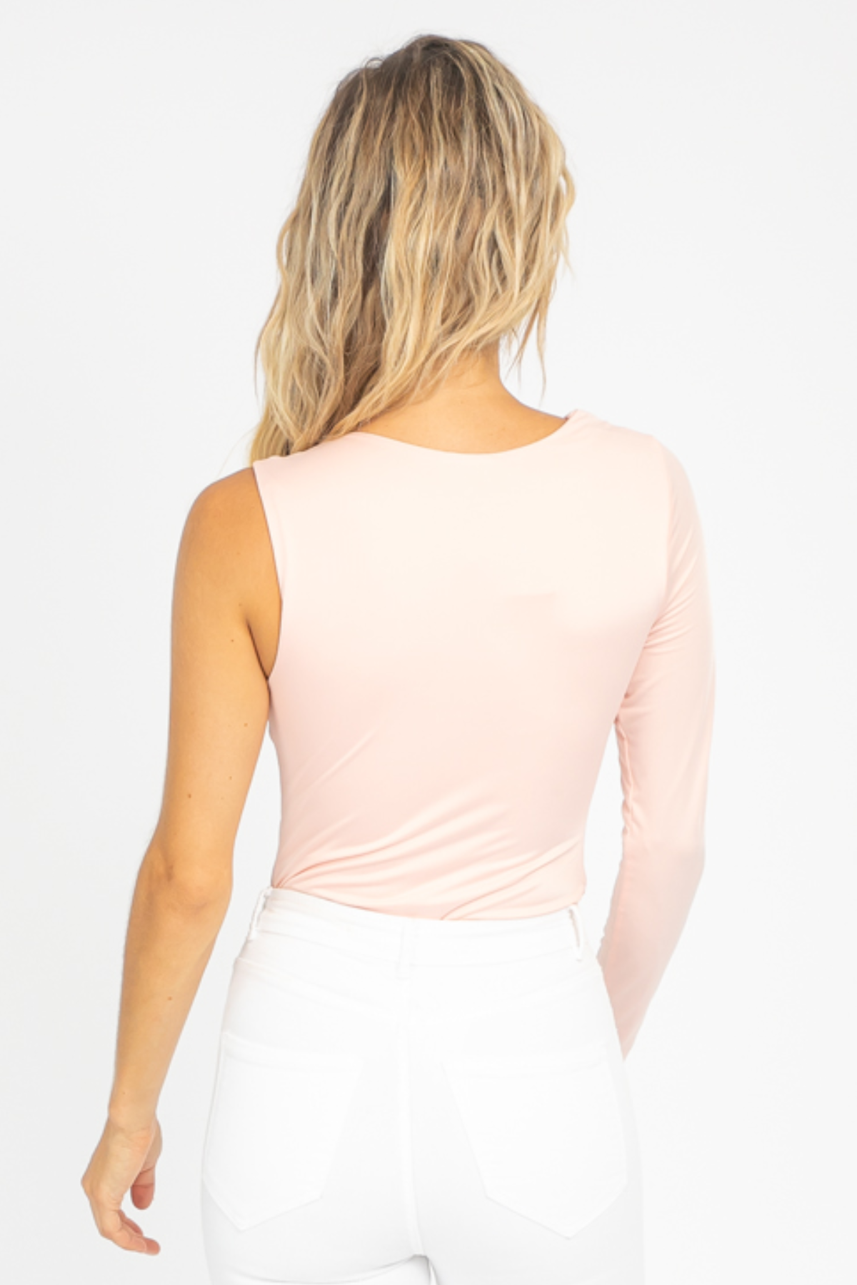 BABY PINK ASYMMETRICAL ONE SLEEVE BODYSUIT