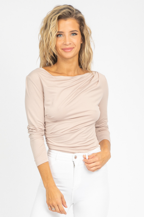 BEIGE KNIT OFF SHOULDER TOP