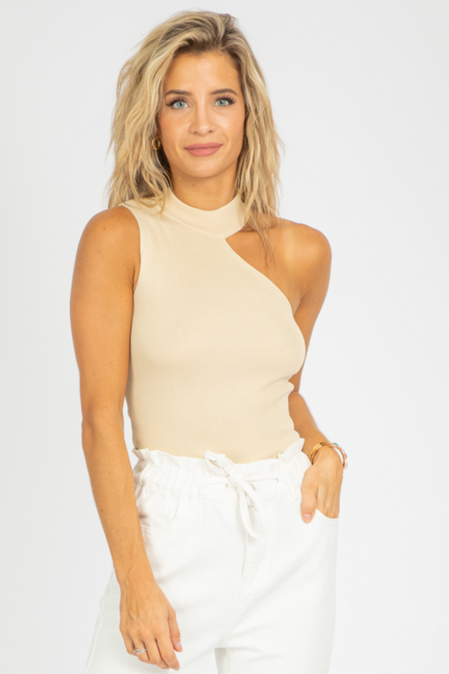 BEIGE ONE SHOULDER KNIT TANK