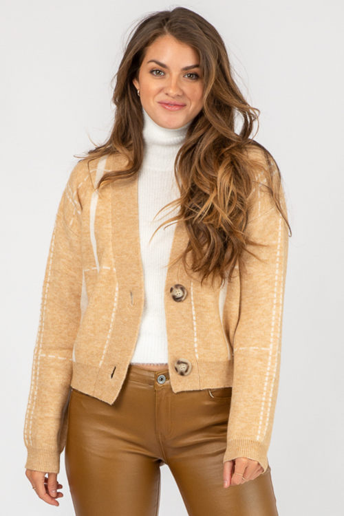 BEIGE + WHITE BUTTON FRONT CARDIGAN