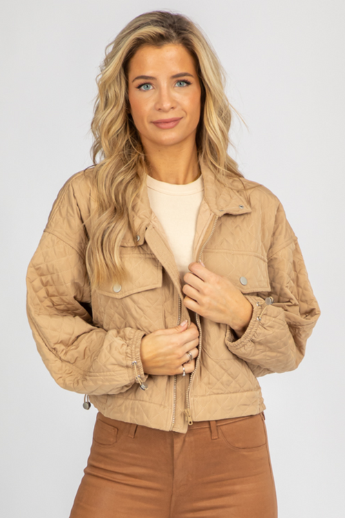 BEIGE QUILTED ZIP UP JACKET