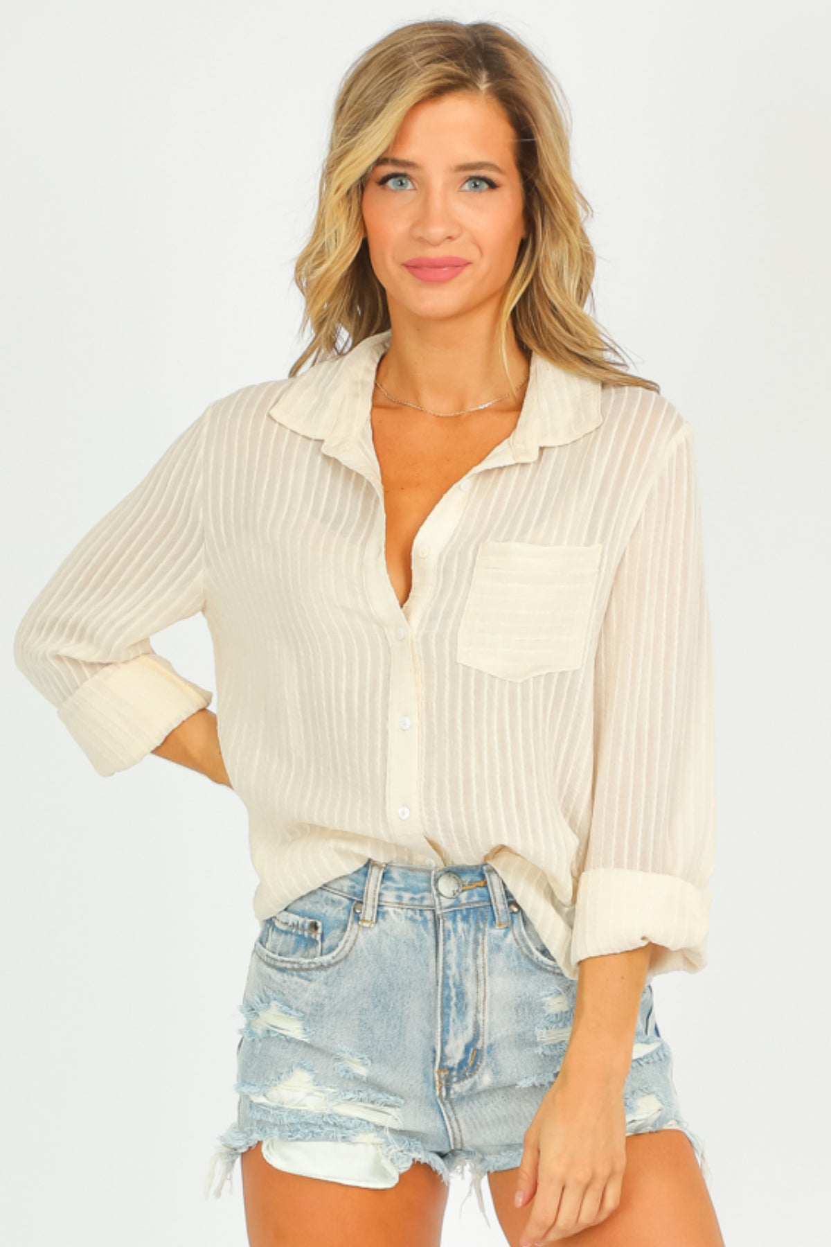 CREAM BUTTON DOWN BLOUSE
