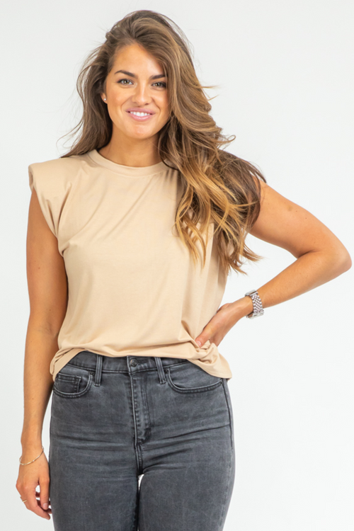 BEIGE SLEEVELESS SHOULDER PAD TOP
