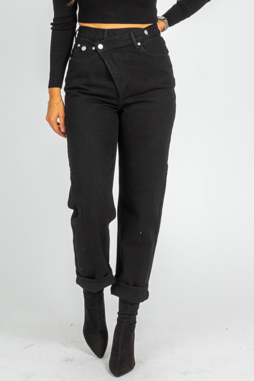 BLACK ASYMMETRIC WRAP JEANS