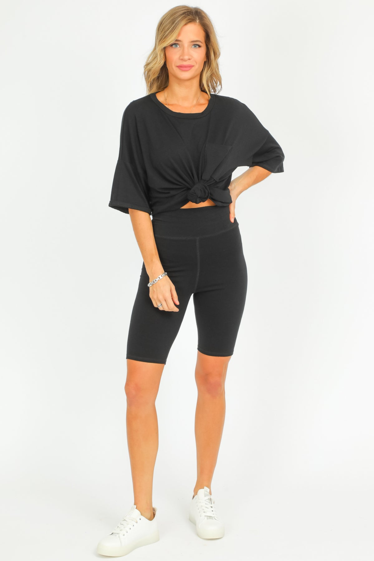 BLACK BIKER SHORTS SET