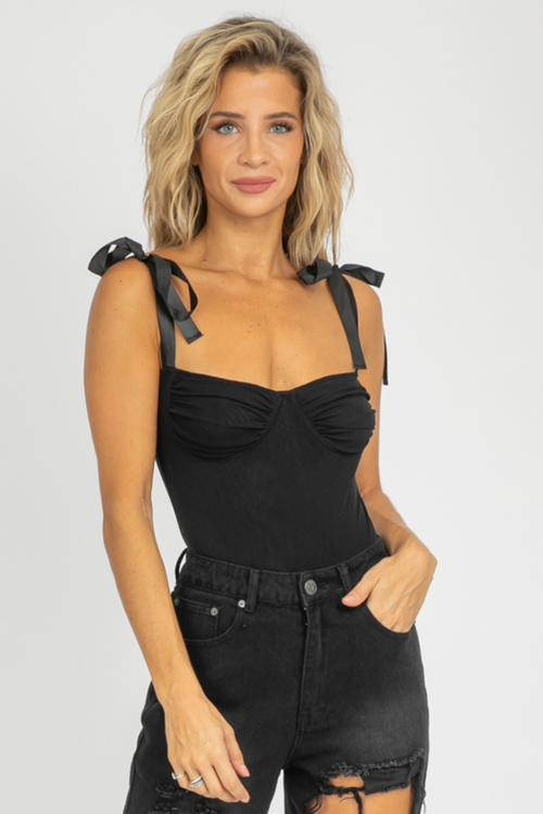BLACK BUSTIER TIE SLEEVE BODYSUIT