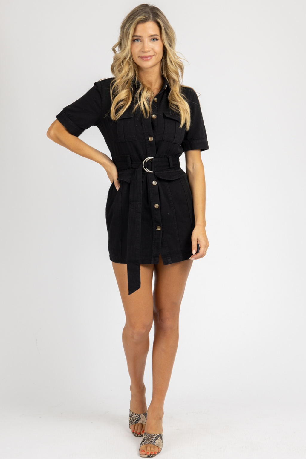 BLACK DENIM BELTED MINI DRESS *RESTOCK COMING SOON*