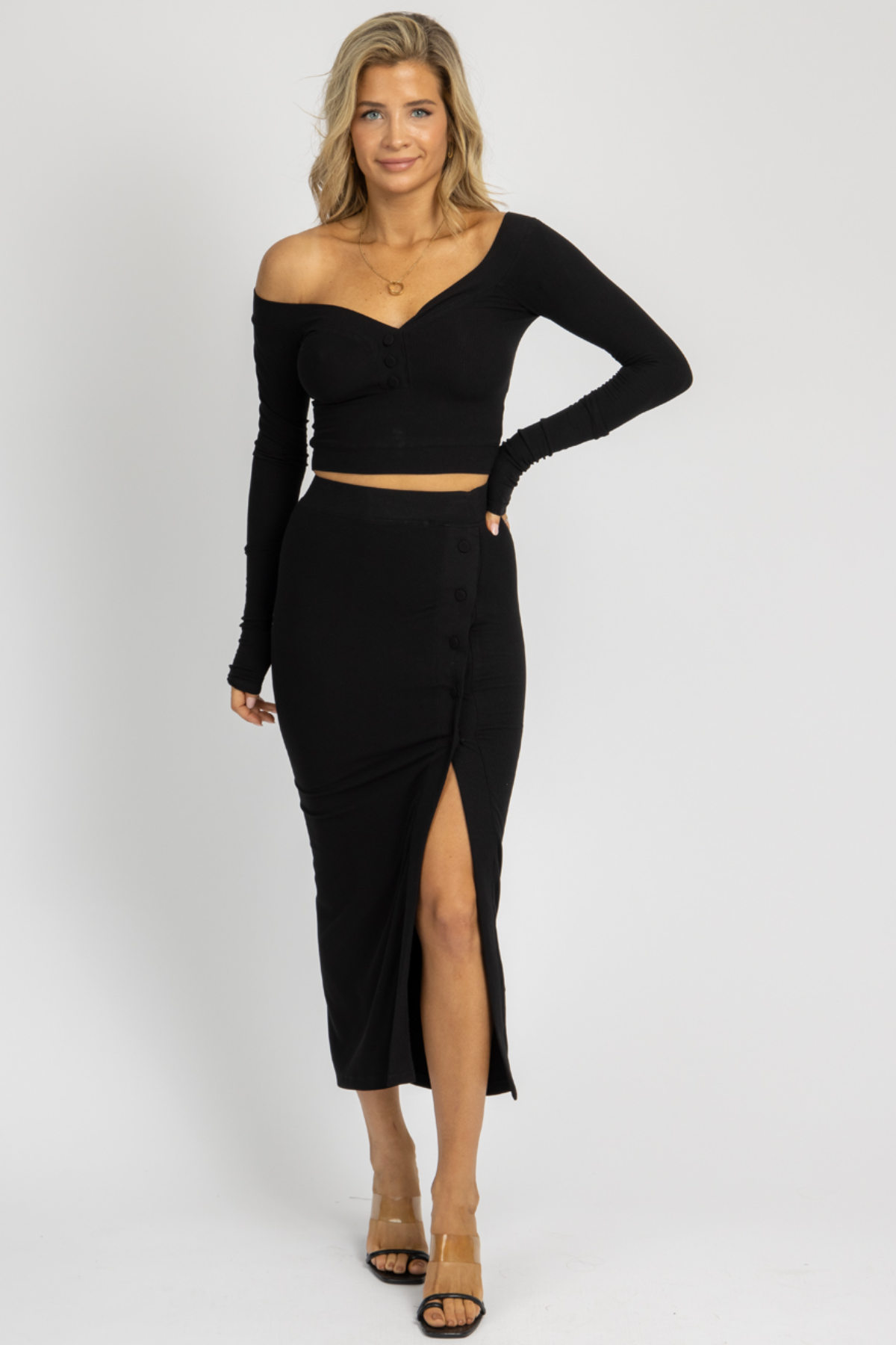 BLACK BUTTON CROP + MIDI SKIRT SET