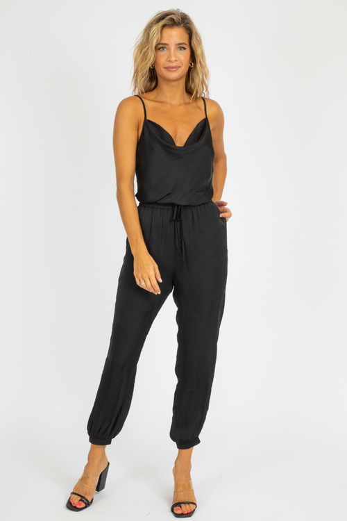 BLACK COWL NECK JUMPSUIT