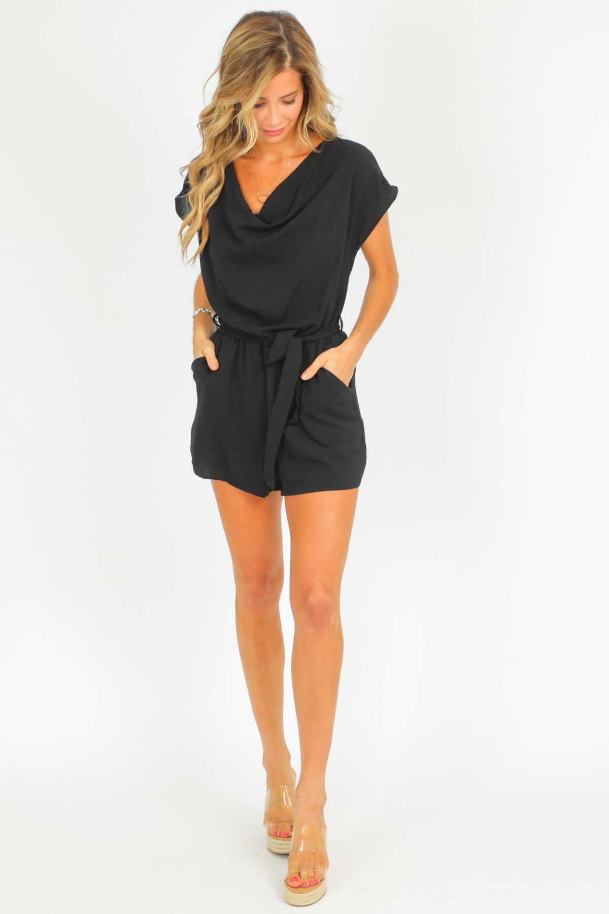 BLACK COWL NECK ROMPER