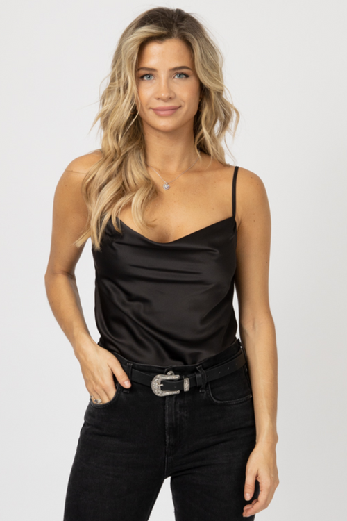 BLACK COWL NECK TOP