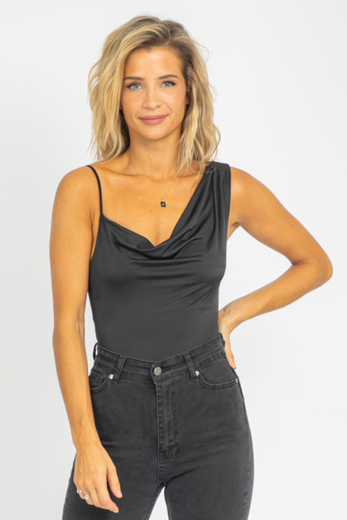 BLACK COWL NECK SHOULDER BODYSUIT