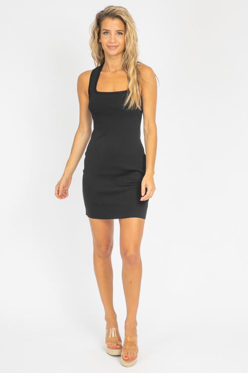 BLACK CROSS BACK MINI DRESS