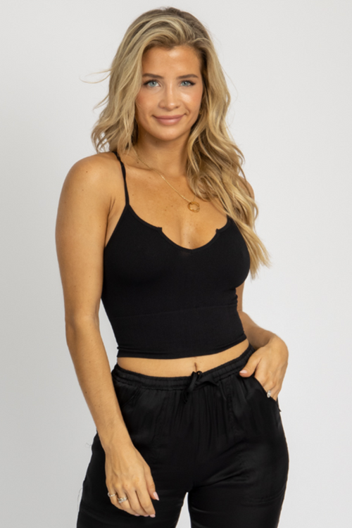 BLACK CUT-V CAMI CROP
