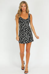 BLACK DAISY MINI DRESS