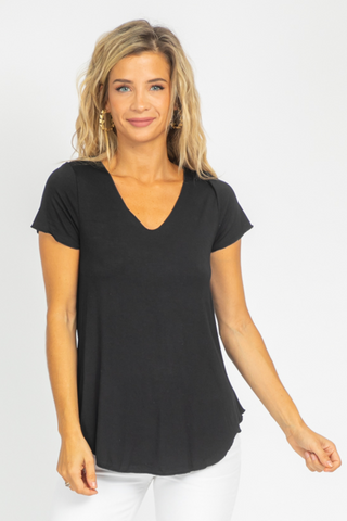 BLACK ONE-SIDED RUCHE TOP