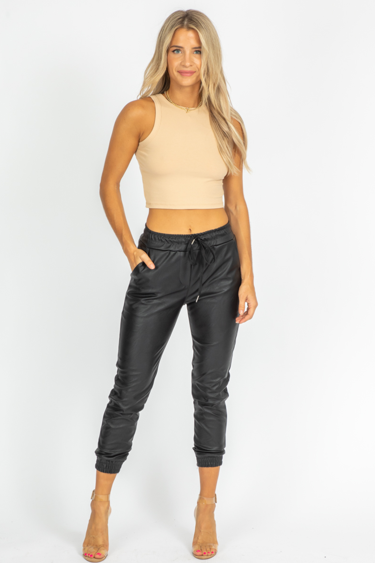 FAUX LEATHER CUFFED JOGGERS