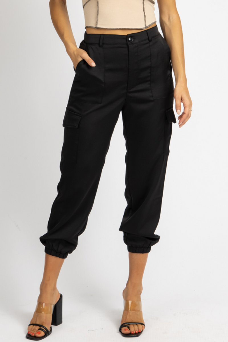 BLACK FLAP POCKET SATIN JOGGERS