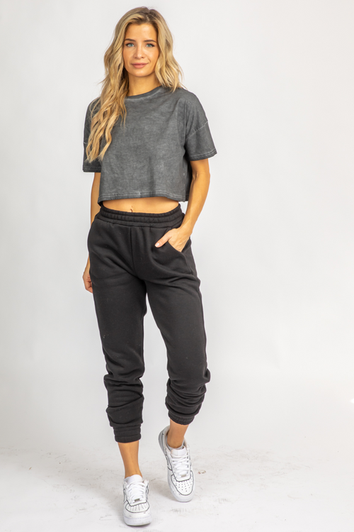BLACK FLEECED BASIC JOGGER