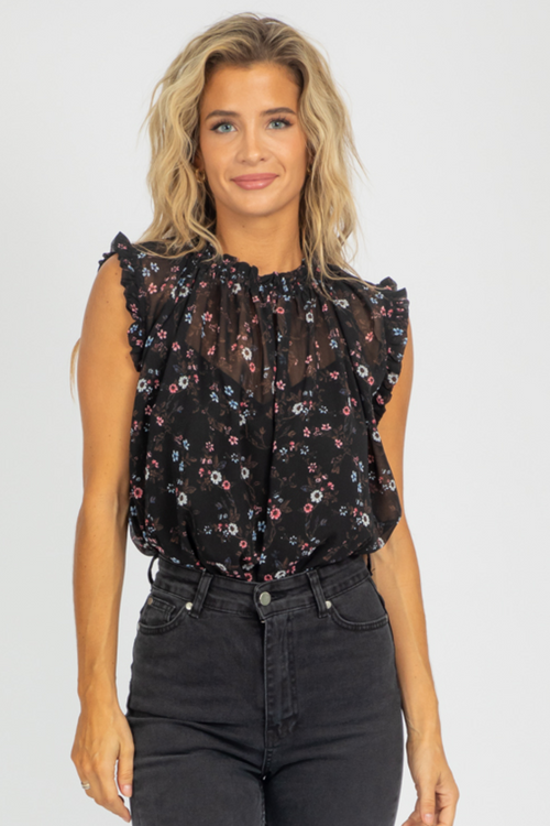 BLACK FLORAL BLOUSE TANK